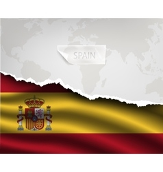 Paper with hole and shadows SPAIN flag vector