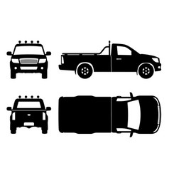 pickup truck black icons vector image