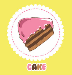 Piece of chocolate cake with pink icing cake icon vector