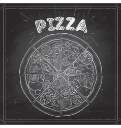 Pizza on a black board vector