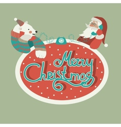 Polar bear and Santa Claus talking by phone vector image
