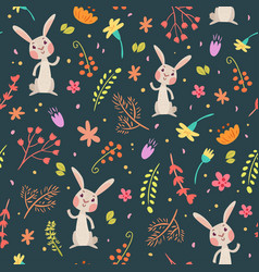 rabbits in forest cute seamless pattern vector image