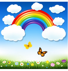 Rainbow and grass vector