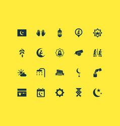 Ramadan icons set collection of fruit nachmittag vector