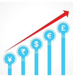 rising graph of currency bars made of bulbs vector image