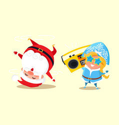 Santa standing on head break dancing snow maiden vector