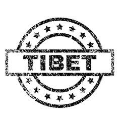 Scratched textured tibet stamp seal vector