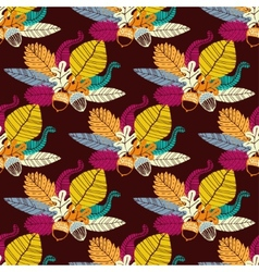 Seamless pattern with acorns and oak leaves vector image