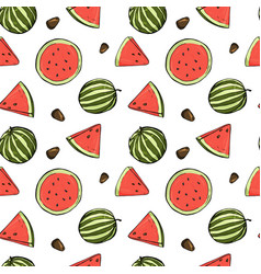 seamless pattern with watermelons in sketch style vector image
