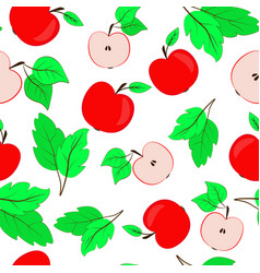 Seamless repeating pattern with apples red apples vector