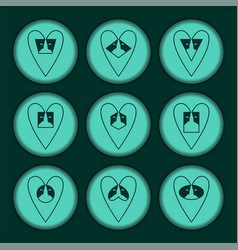 Set hearts turquoise contour vector