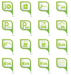 Set of 16 pointers car service GREEN pointer vector