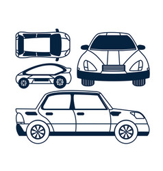 set of car views icons vector image