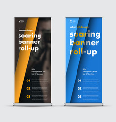 set of roll-up banners in black blue and yellow vector image