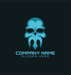 skull trident logo vector image