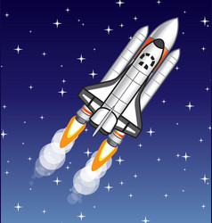 Space shuttle flying on starry background vector