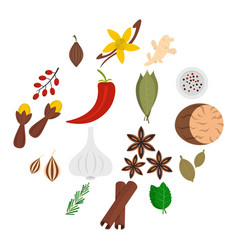 spice icons set in flat style vector image