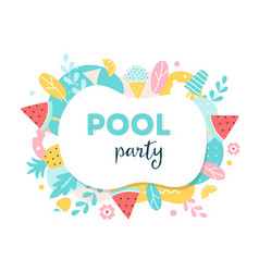 Summer pool or beach party poster flyer or vector