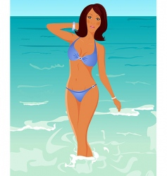 Suntanned girl vector
