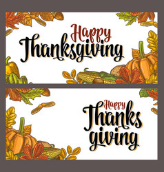 Template for greeting card and poster thanksgiving vector