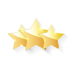 three gold stars with shadow effect vector image