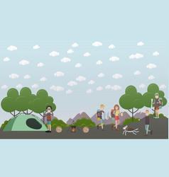 Tourists going hiking camping flat style vector