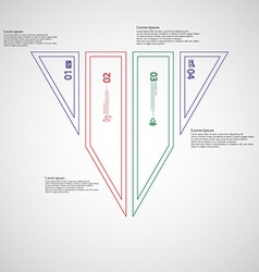 Triangle infographic template divided to four vector