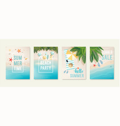 Tropical beach cards with sand sea and palm vector