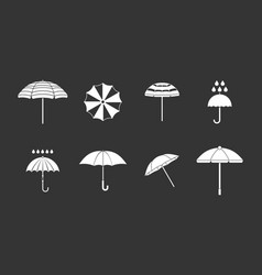 umbrella icon set grey vector image