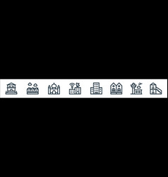 Urban building line icons linear set quality line vector
