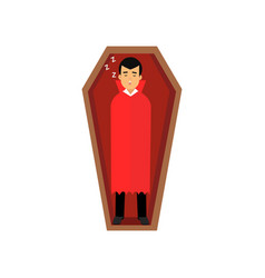 Vampire character sleeping in wooden coffin count vector