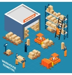 Warehouse isometric icons concept vector