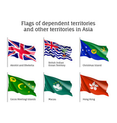 Waving flags of dependent territories vector