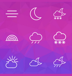 weather icons line style set with overcast vector image