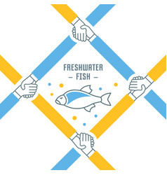 website banner and landing page freshwater fish vector image