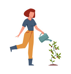 woman watering plants in garden female character vector image