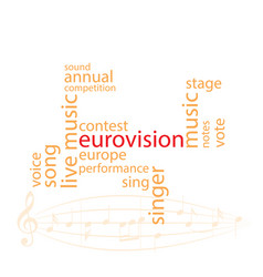 Word collage in color - eurovision song contest vector