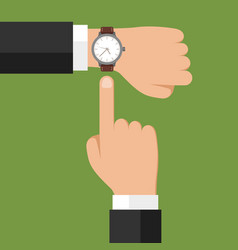 wristwatch on hand businessman showing time on vector image