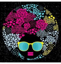 Black head woman with strange pattern hair vector image