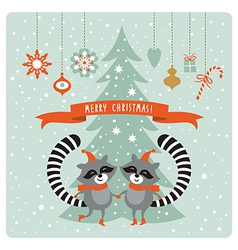 cute raccoons greeting card vector image vector image