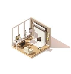 isometric low poly Photo studio room icon vector image vector image