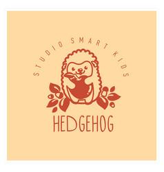 kids club logo with hedgehog cute kindergarten vector image vector image