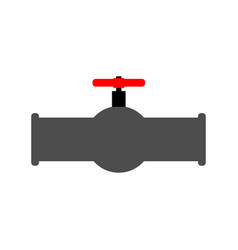 oil piping and red valve water tap and tube vector image