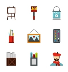 Paint drawing icons set flat style vector