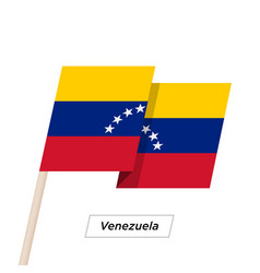 venezuela ribbon waving flag isolated on white vector image