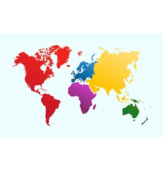 World map colorful continents atlas EPS10 file vector image vector image