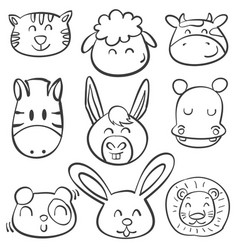 doodle animal head style collection vector image vector image