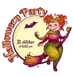 Invitation to Halloween party with fun witch on a vector image