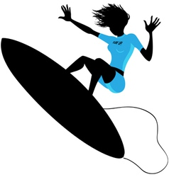 Silhouette of a woman surfing vector