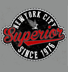 superior tee graphic emblem vector image vector image